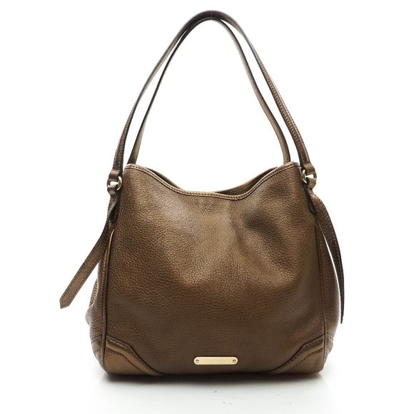 Auth Burberry Shoulder Bag Gold Leather #5101B16